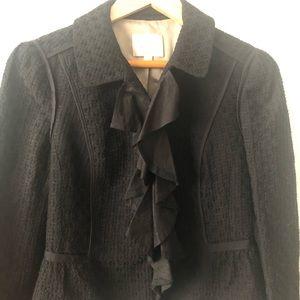 LOFT blazer with ruffles on neckline size 6